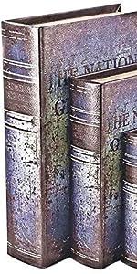 Bellaa 28106 Decorative Book Boxes Secret Storage Memory Antique Style Book Faux Set 3