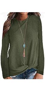 TODOLOR Women's Casual Loose Knee Length Tunic Dress Long Sleeve Pleated Swing T-shirt Dress