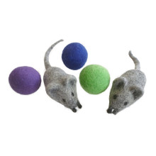 earthtone solutions felt ball toys mice mouse cat kitten nepal interactive exercise quiet hand made