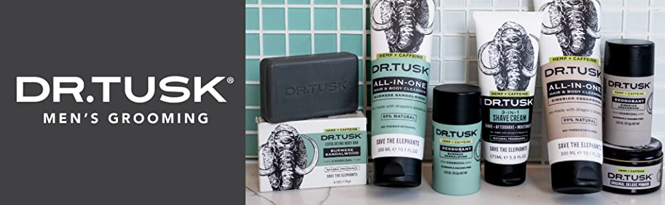 Dr Tusk Mens natural premium skincare products made with hemp and caffeine help save the elephants