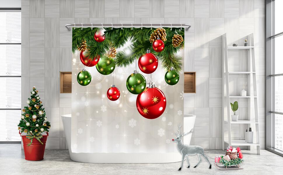 Green Christmas shower curtain