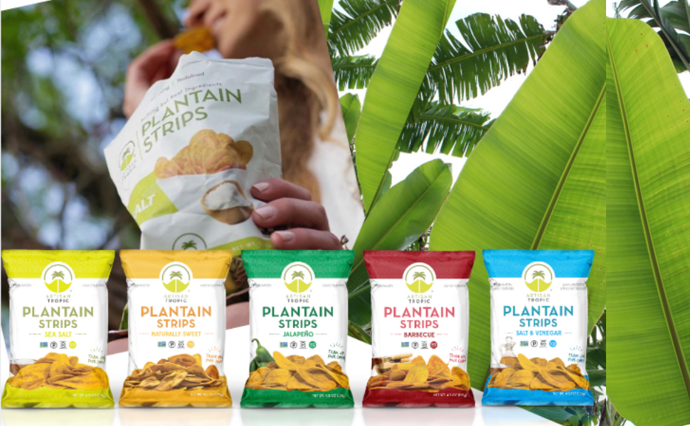 Artisan Tropic Plantain snacks healthy chips crisps plantain cassava