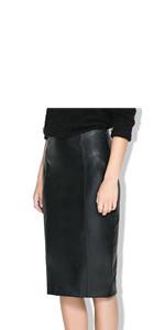 women leather skirt