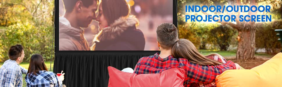 Projector screen with stand for home office or backyard premium wrinkle-free PVC material and bag