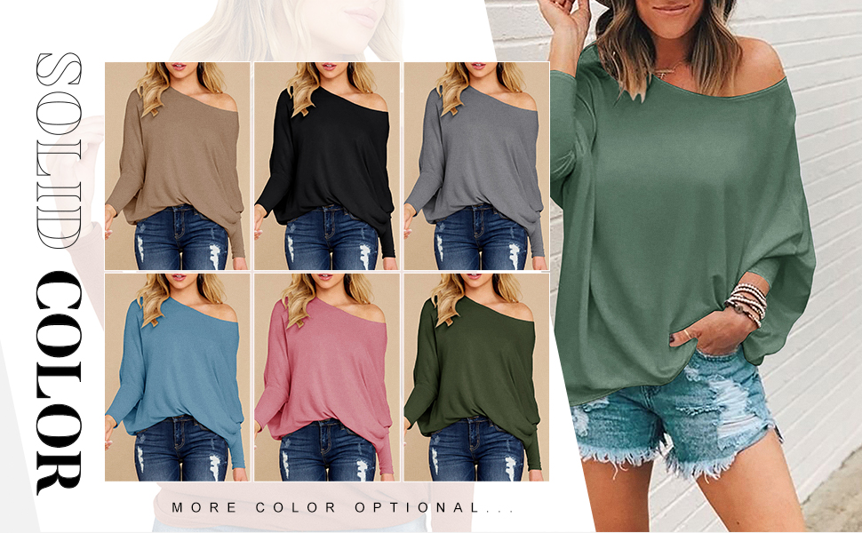 Womens Off Shoulder Loose Fit Blouse Shirt Classic Pullvoer