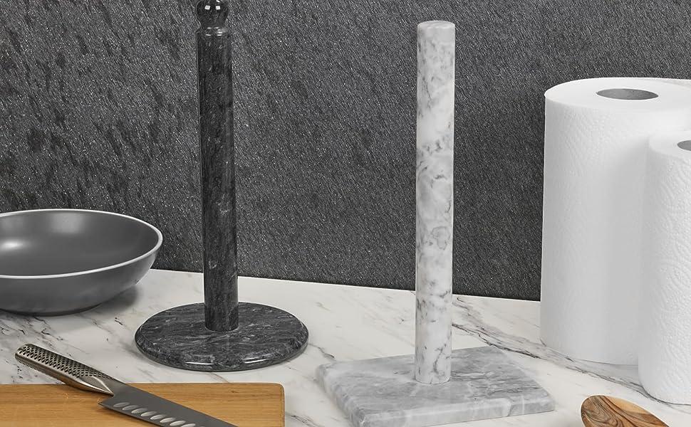 kitchen roll holder white marble square base premium vintage