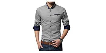 IndoPrimo Men's Cotton Casual Shirt Full Sleeves