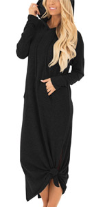 Long sleeve Drawstring hoodie Kangaroo Pockets long dress Side Slit Casual loose fit hooded dresses