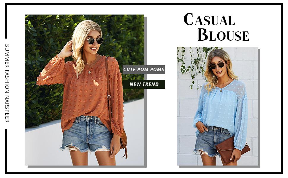 pom design V neck blouse lightweight blouse a swingy hem blouse  Double-layer blouse v-neckline