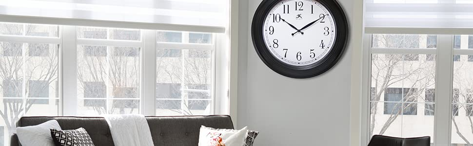classic black large decorative wall clock easy to read infinity instruments quartz 24 inch clock