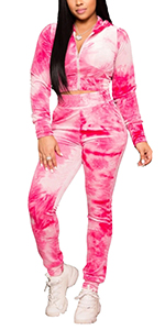 fall tie dye tracksuits 2 piece outfits for women