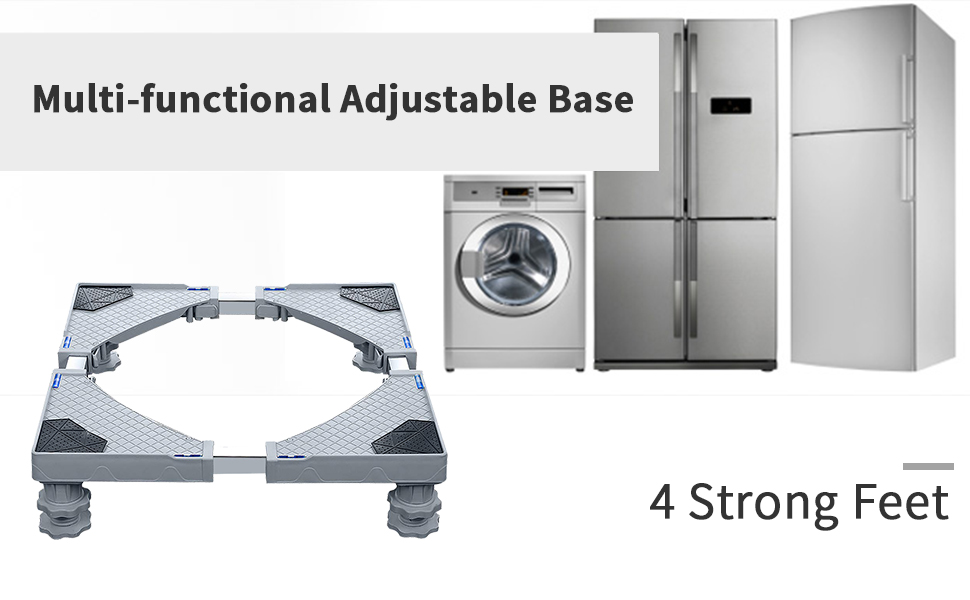 Sharemee Mobile Base Dorm Fridge Stand with 4 Strong Feet Multi-Functional Adjustable Base
