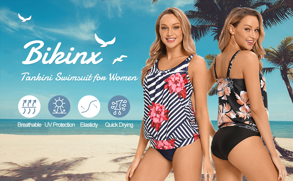 Tankini Swimsuits for Women Plus Size Swimwear Tummy Control Two Piece Bathing Suits Two Piece Suits