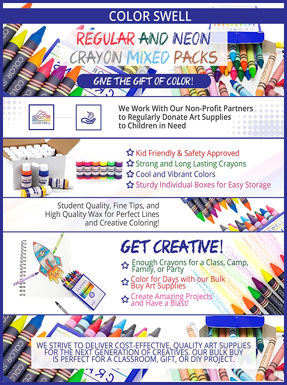 Color Swell Regular and Neon Crayon Bulk Packs 6 Boxes of Fun Neon Crayons and 6 Boxes of Colorful Regular Crayons of Teacher Quality Durable Classroom Packs for Kids Students Party Favors