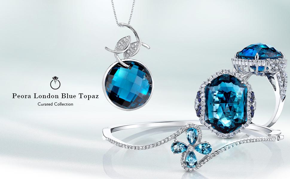 peora london blue topaz ring necklace pendant earrings gold women december gem-stone jewelry