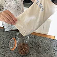 muslin cloth bulk cotton grains powder zero waste washable drawstring solid close durable heavy