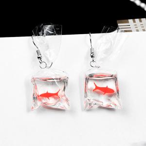 Pendientes de Gancho para la Oreja de Resina Bolsa de Agua Transparente Kongqiabona-UK Pendientes de pez Dorado Fresco para ni/ña