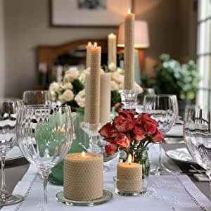 Little Bee of Connecticut Hand Rolled Beeswax Candles Elegant Table Setting