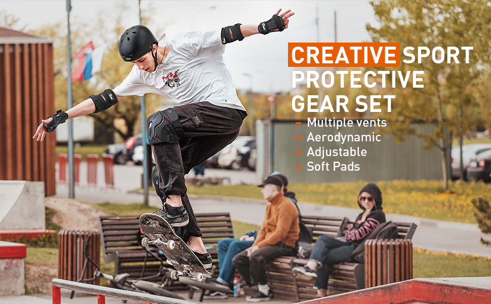 for Biking Inline Skating and Others BMX Scooter JBM 4 Sizes Extra Pads Diamond Curved Series Full Protective Gear Set Multi Sport Helmet Knee and Elbow Pads with Wrist Guards Skateboard