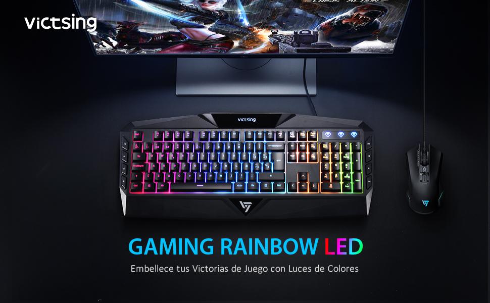 VicTsing Teclado Gaming Español USB Rainbow LED Retroiluminado con Ergonómico y Gran Durabilidad, Resistente a Derrames, Teclado con sensación ...