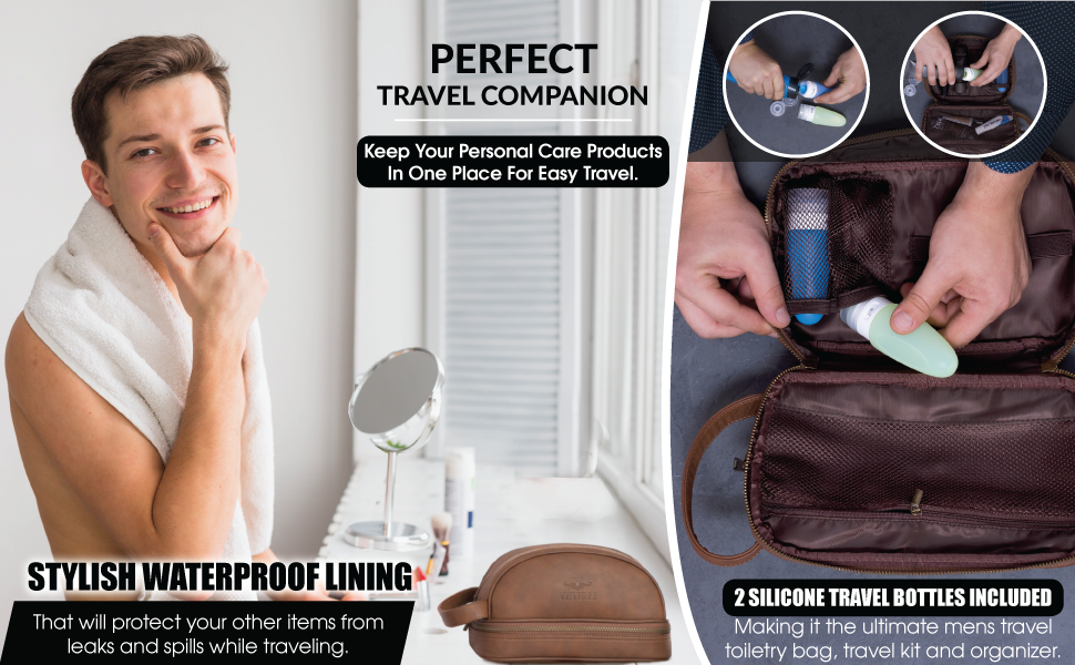 mens toiletry bags for travelling vetelli leather dopp kit