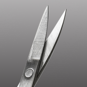 Curved blade with pointed tips for precision trimming