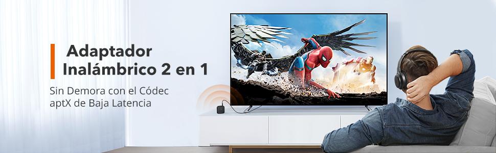 TaoTronics Transmisor Receptor de TV 2 en 1 Bluetooth 5.0, AptX Adaptador de Audio Auxiliar de 3,5 mm baja Latencia, Entrada / Salida SPDIF, Conexión ...
