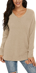 Women v neck Loose Fit Fuzzy Knit Pullover Sweater