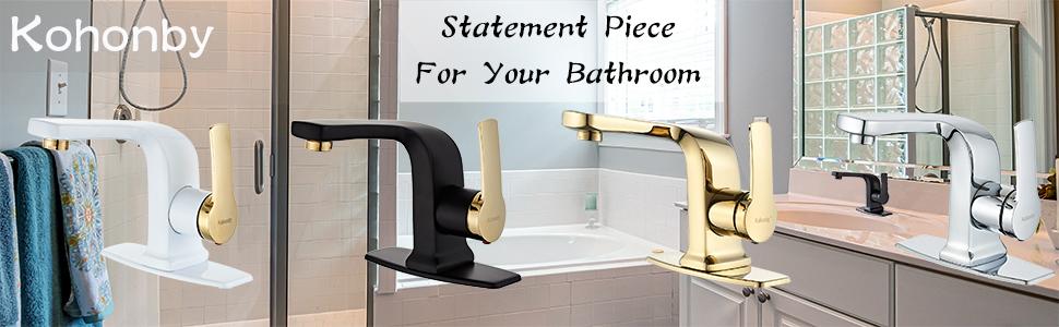 Modern Matte Black Bathroom Faucet , Single Handle Commercial Bathroom Sink Faucet Single Hole
