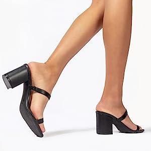 Adams Stormi Block Heel J Double Band Square Open Toe Slide Heeled Sandal