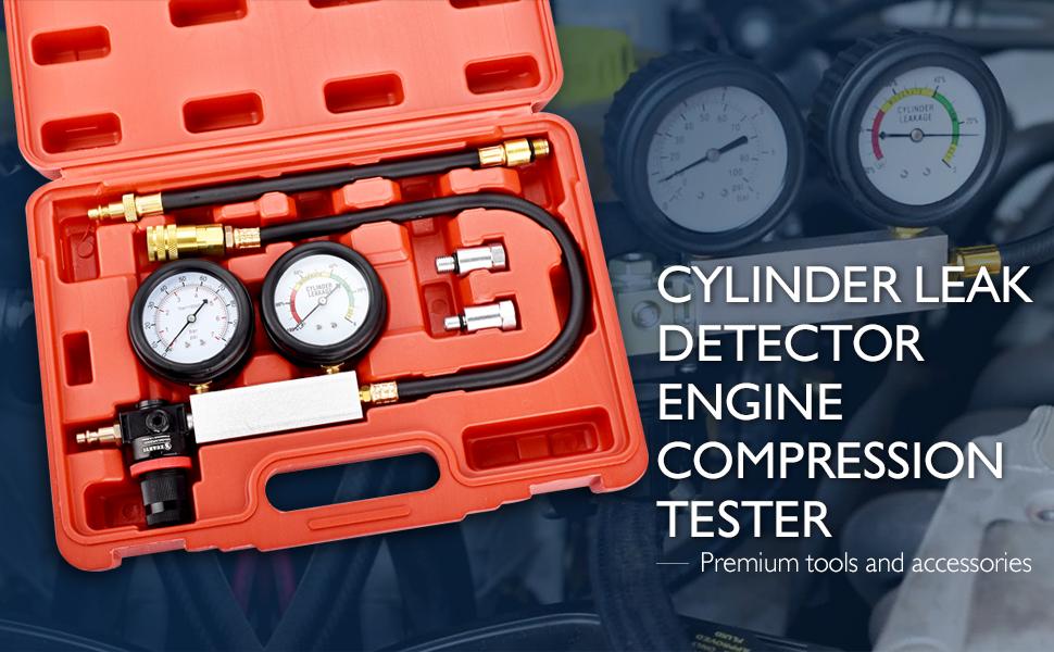 FAERSI Cylinder Leak Detector Head Gasket Engine Compression Diagnosis Tester Kit Cylinder Leakage Pressure Detector Test Set for Piston Ring Valve