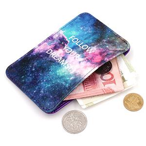 purple slim card holder wallet