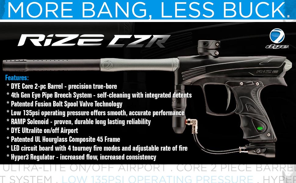 Dye Rize .68 Caliber Electronic Paintball Gun Marker Tournament Pro Rise Markers Guns