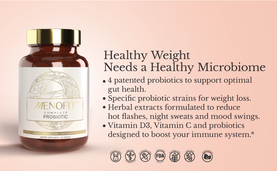 Menopause, probiotic, weight loss, fitness, immune, support, health