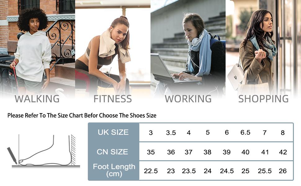 Memory Foam Sneakers for women size chart