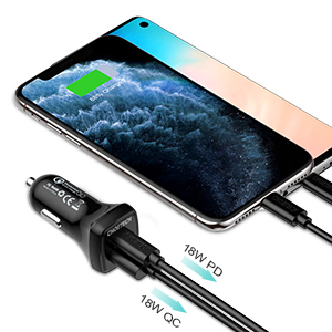 CHOETECH USB C Car Charger, 36W 2-Port Quick Charge 3.0 Power Delivery Type C Car Charger Compatible with iPhone 11/11 Pro/11 Pro Max/XS ...
