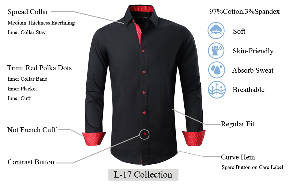 Long sleeve mens dress shirts casual button down solid color