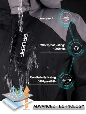 BALEAF Mens Waterproof Ski Jacket Mountain Windproof Winter Snow Coat Rain Jacket