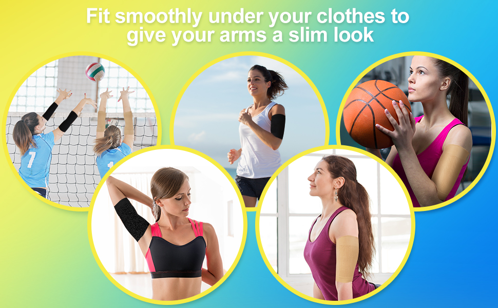 4 Pairs Slimming Arm Sleeves Arm Elastic Compression Arm Shapers Sport Fitness Arm Shapers for Women Girls Weight Loss (Black and Nude Color) 16