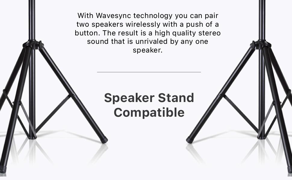 wireless Speaker Bluetooth TWS wavesync pair setup system stereo backyard portable PA stand tripod
