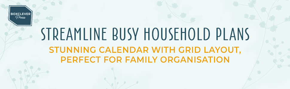 Streamline busy household plans. Stunning calendar with grid layout, perfect for family organisation