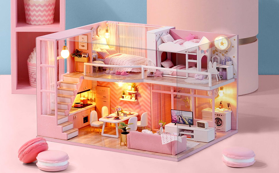 1//24 Scale Dollhouse Miniature DIY House Kit Kids Bedroom with Furniture