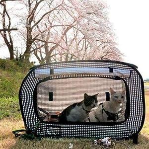 猫 猫壱 おでかけ ペット 可愛い シンプル  黒 収納 撥水 飛び出し防止 ロックジッパー 軽量 6kg 耐荷重  防災 ポータブルケージ ポータブル