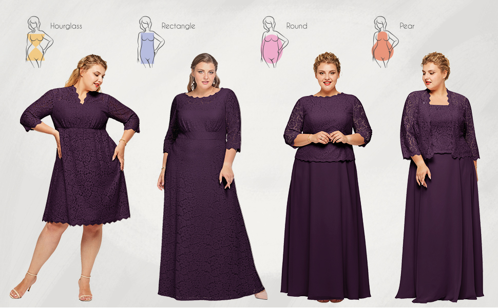 Alicepub Plus Size Mother of The Bride Dress with Jacket Long Formal Evening Wedding Guest Gown for Women