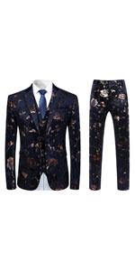 mens two buttons slim fit floral suit 3 piece single breasted Dress suit set Blazer vest Trousers