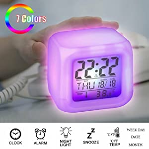 Smart Digital Alarm Clock with Automatic Sensor Backlight, Snooze Alarm, Date
