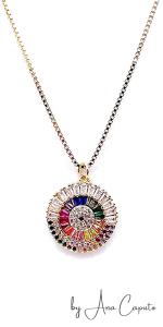 Evil Eye Color Charm Disc Pendant Necklace