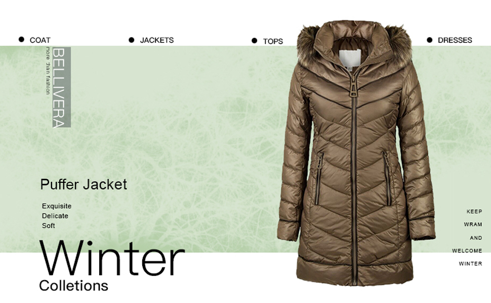 Puffer Coat with 2 Pockets Cotton Filling Bellivera Womens Quilted Lightweight Jacket Water Resistant