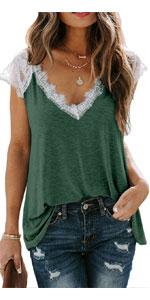 Kinlonsair Women Crochet Lace Basic V-Neck T-Shirt