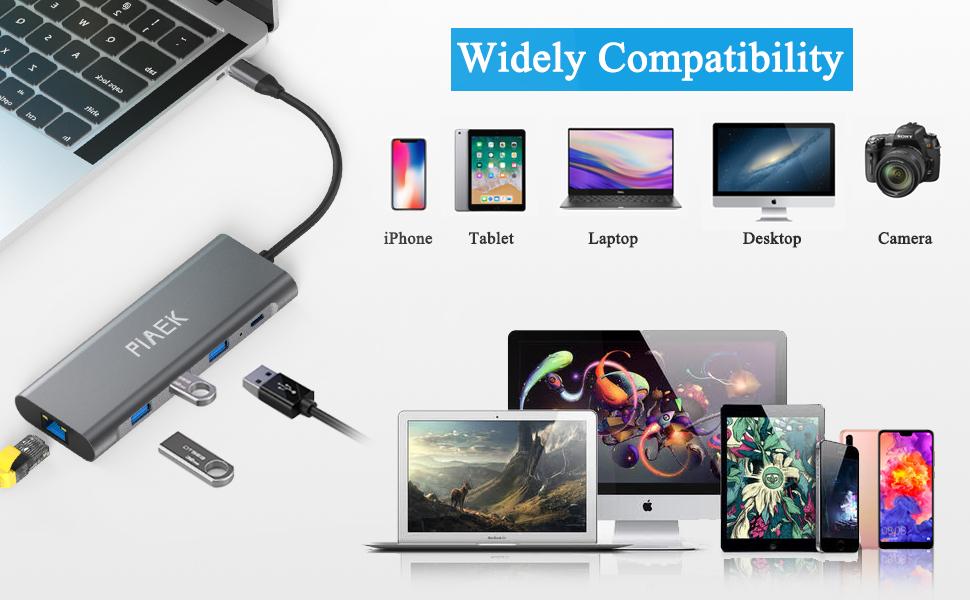 USB C Hub,Adaptador Multipuerto Tipo C 9 en 1 con 4K HDMI,1000M Ethernet,3xUSB 3.0,Lector de Tarjetas SD/TF,Carga PD, 3,5mm Audio Jack para MacBook ...